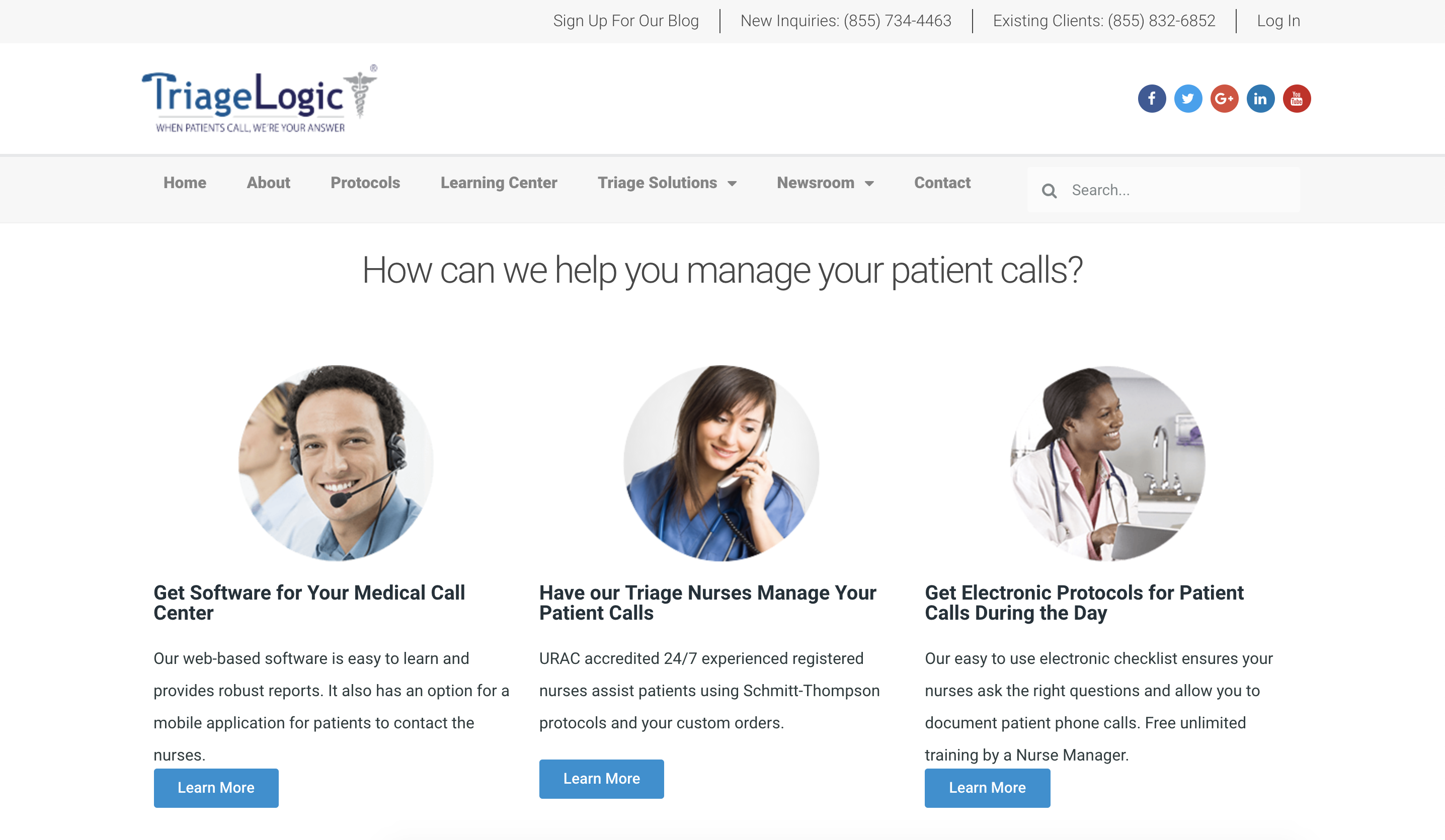 "TriageLogic, a Hivelocity dedicated server, healthcare customer. Website headline: ""How can we help you manage your patient calls?"" Three images titled: ""Get Software for Your Medical Call Center,"" ""Have our Triage Nurses Manage Your Patient Calls,"" and ""Get Electronic Protocols for Patient Calls During the Day."""